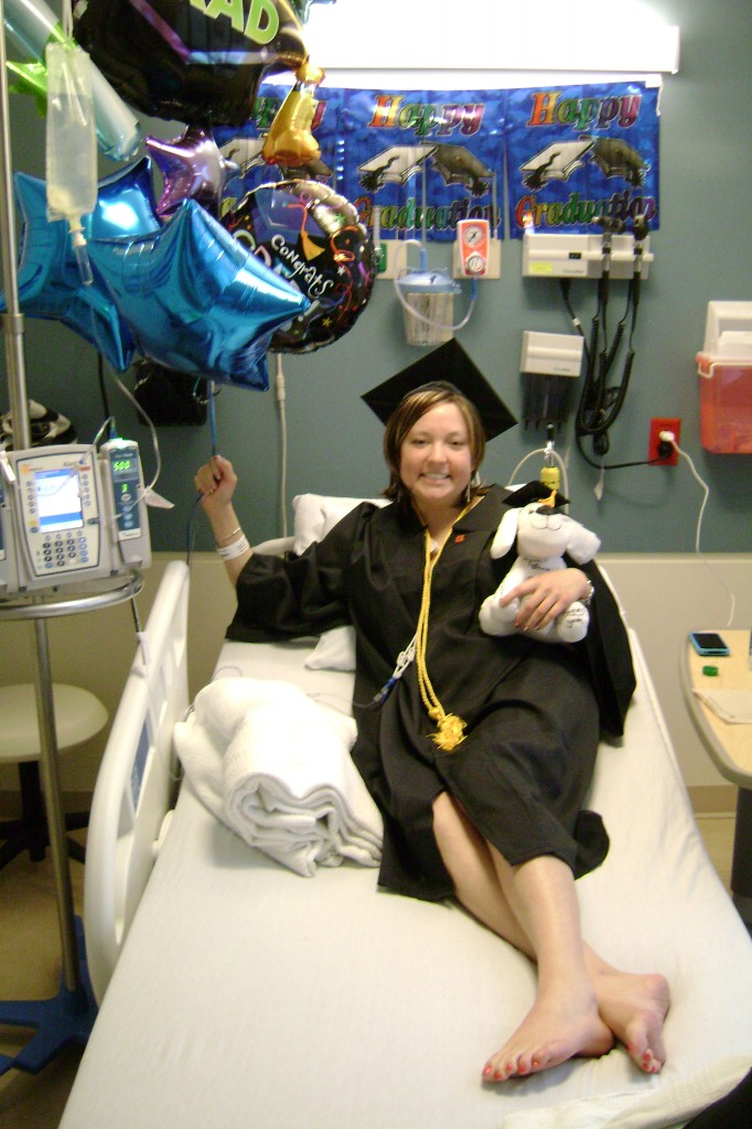 Alyssa's nurses decorated her room on the day she was supposed to graduate from college.