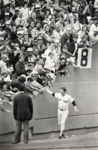 Yaz reaches out to fans on the last day of his baseball career.