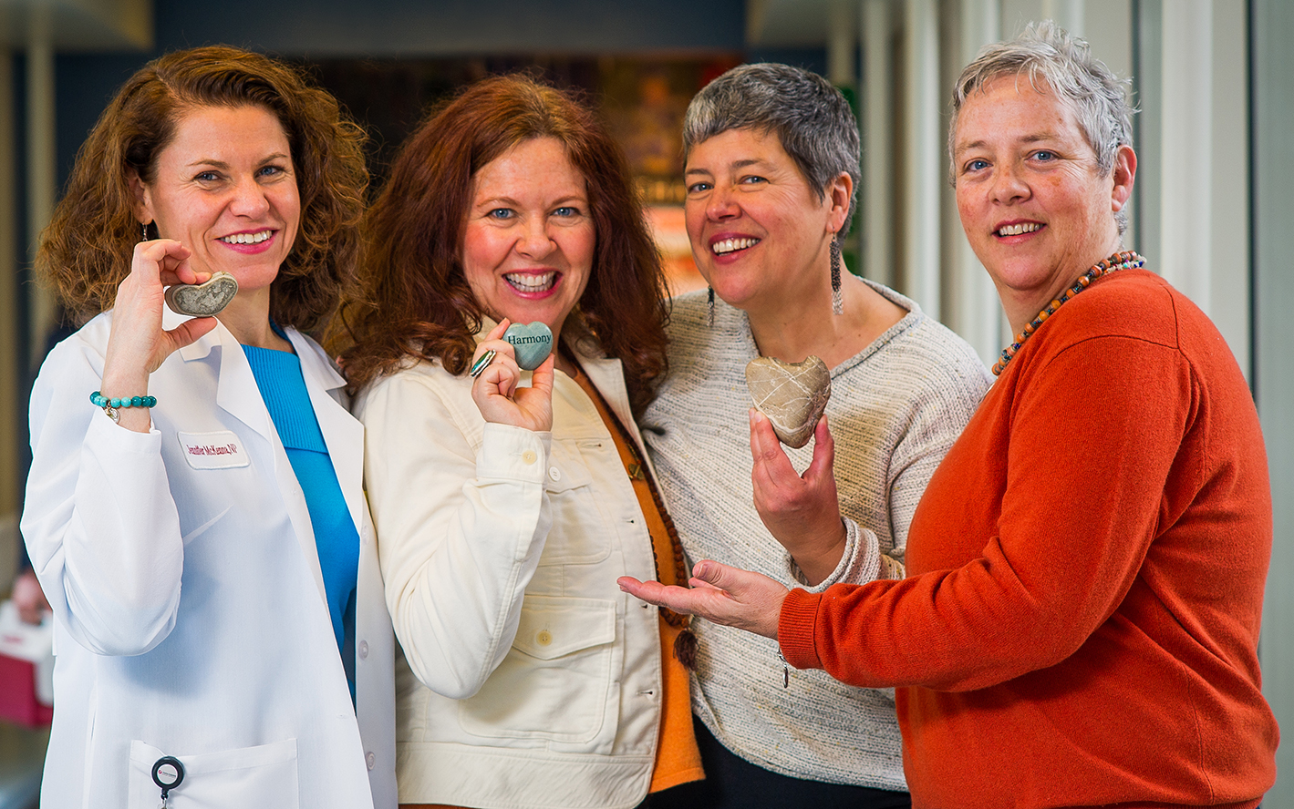 "Meg McCormick, far right, with her ""rocks:"" Her nurse Jennifer McKenna, her sister Maura, and her wife Carla."