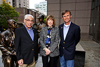 "From left: Dana-Farber supporter James ""Jim"" Vinick, Suzanne Fountain, director of The Jimmy Fund, and Sculptor Brian Hanlon"
