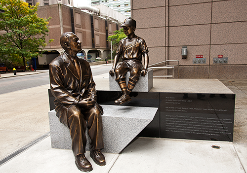 "The new sculpture celebrates Dr. Sidney Farber and ""Jimmy."""