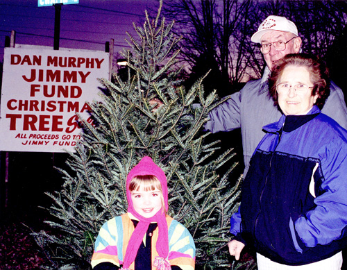 Dan Murphy selling Christmas trees for the Jimmy Fund