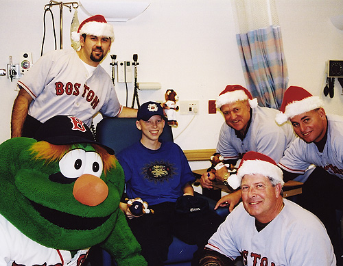 Red Sox and Wally visiting Dana-Farber