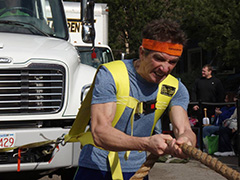 The author, competing recently in a truck pull contest.