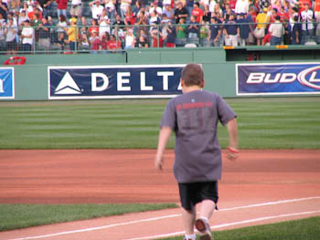 Jordan Leandre runs the bases at Fenway Park during the 2007 WEEI/NESN Jimmy Fund Radio-Telethon