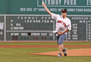 Jordan throws out the first pitch at Fenway Park during the 2013 WEEI/NESN Jimmy Fund Radio-Telethon