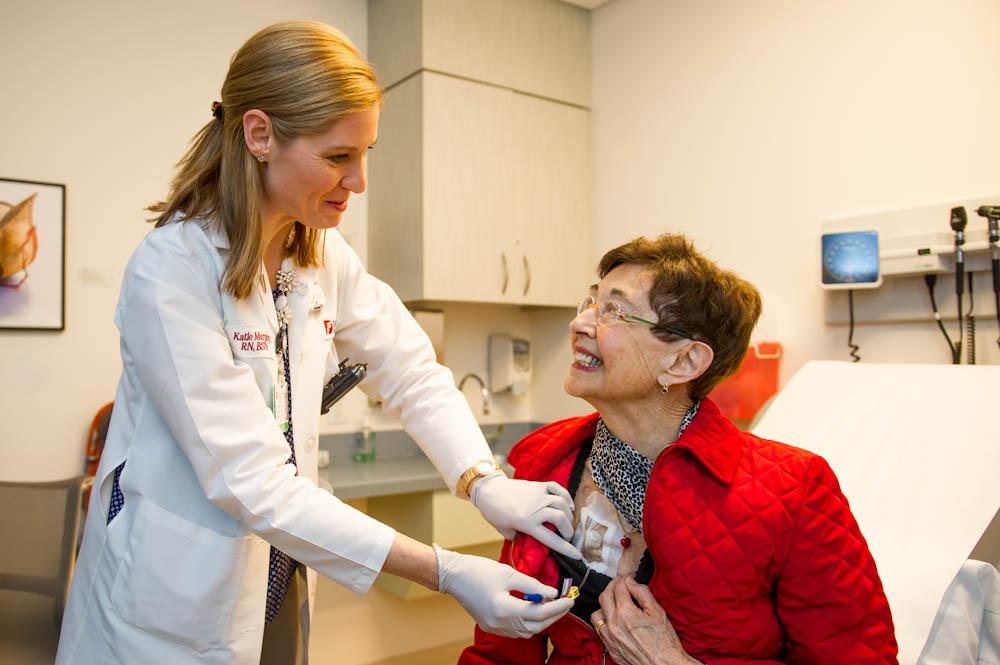 Nurse Kate Murphy with Sally Boyd.