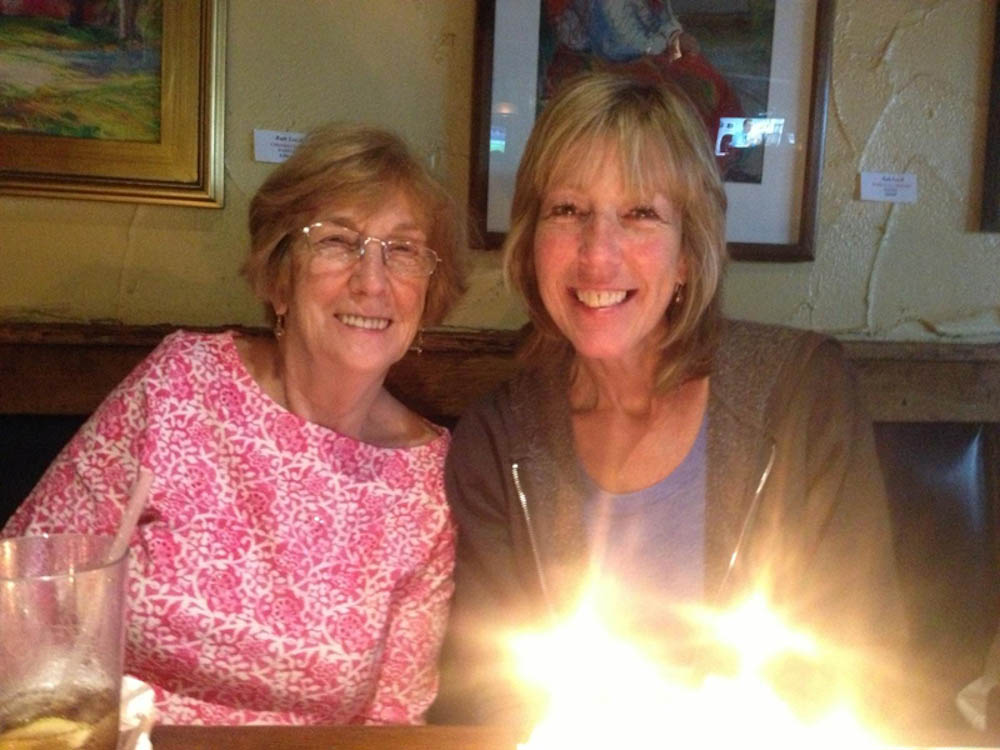 Jill Colter (right) celebrating her birthday with her mom.