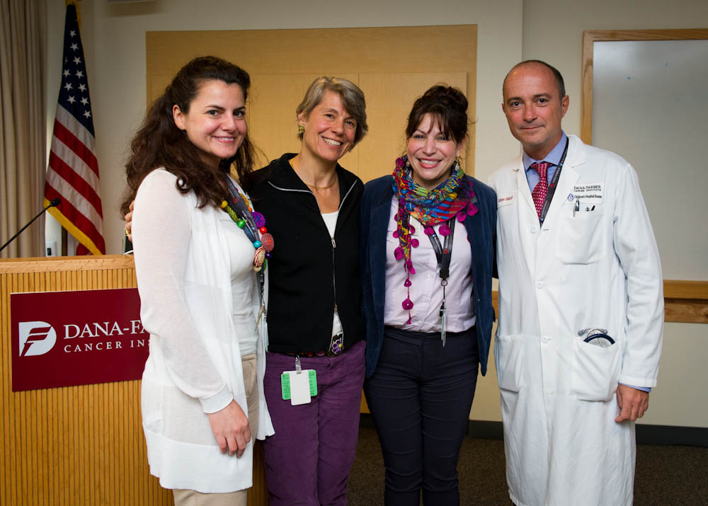 (From L-R) Dana-Farber Global Health Initiative (GHI) Administrator Irini Albanti, MPH, Lindsay Frazier, MD, Soad Fuentes Alabi, MD, and Dana-Farber/Boston Children's GHI Director Carlos Rodriguez-Galindo, MD