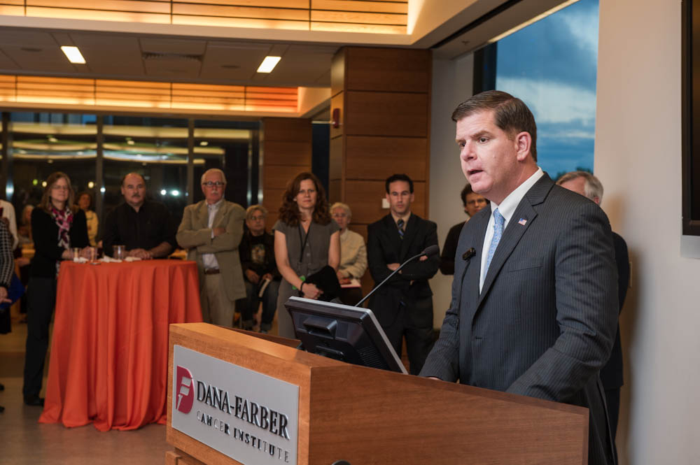 Mayor Walsh speaking at the Living Proof celebration.