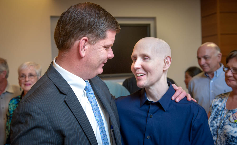 Mayor Walsh meets with a patient at the Living Proof celebration