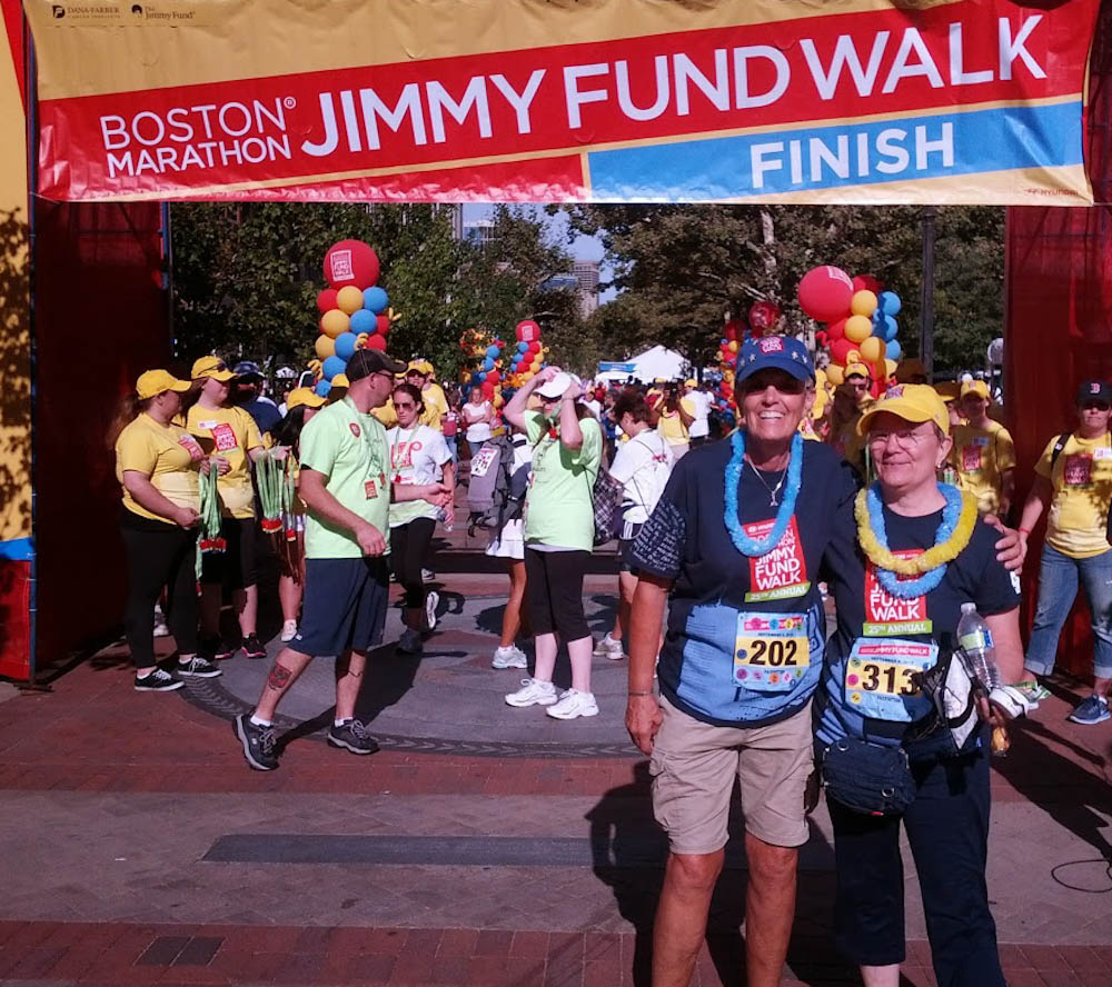 Barbara and her friend, Betty, at the Jimmy Fund Walk finish line