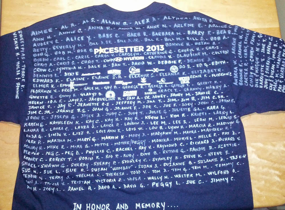 Barbara's Walk t-shirt, covered in names
