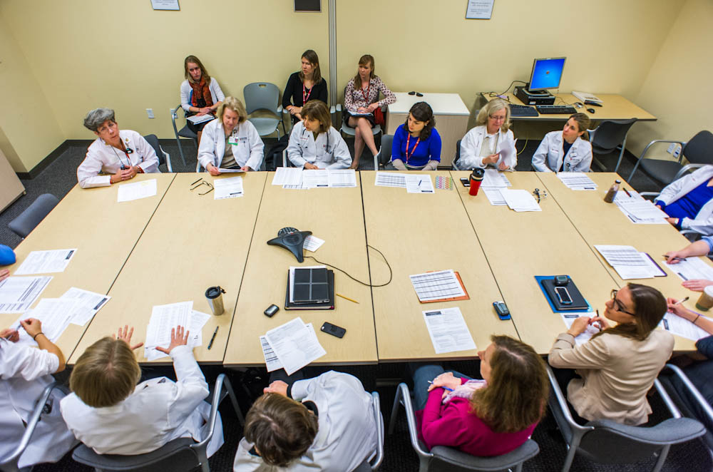 The Gynecologic Oncology team from the Susan F. Smith Center for Women's Cancers meets regularly to coordinate patient treatment plans.