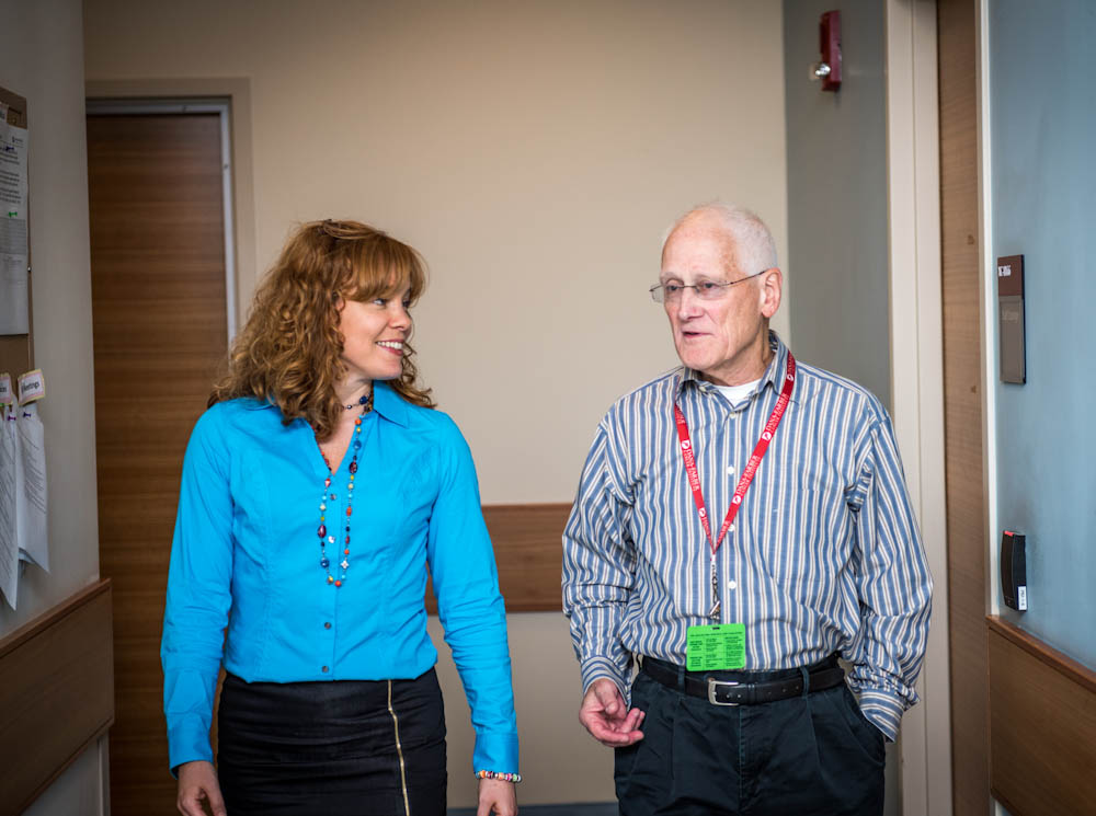 John Barrett (right) with Dana-Farber exercise physiologist Nancy Campbell,