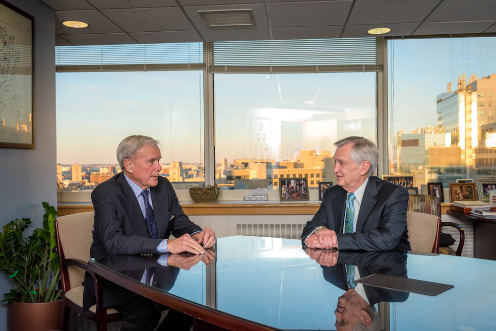 Tom Brokaw (right) meets with Dana-Farber President and CEO Edward J. Benz, Jr., MD.