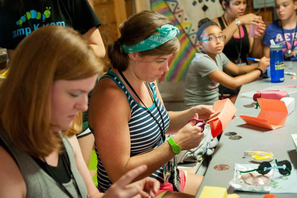 Erin works on arts & crafts at Camp Kessem