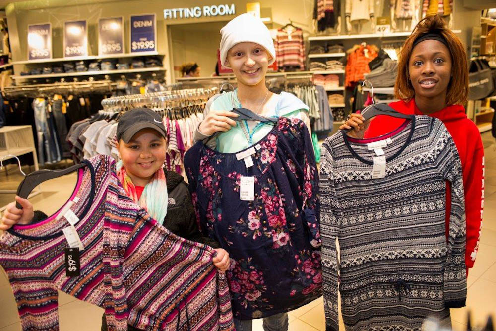 "They complimented each other as they saw their different styles emerge while they tried on outfits. ""It was fun because it was just us girls,"" said Gianna, pictured on the left."