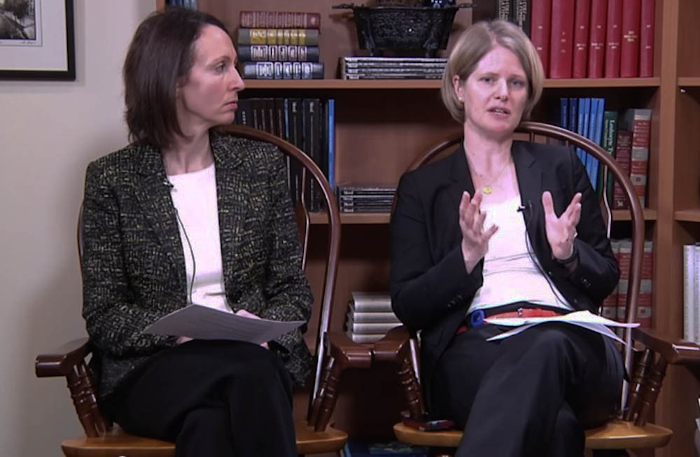 Larissa Lee, MD, (left) and Alexi Wright, MD, MPH, discuss the latest in cervical cancer research and treatment.