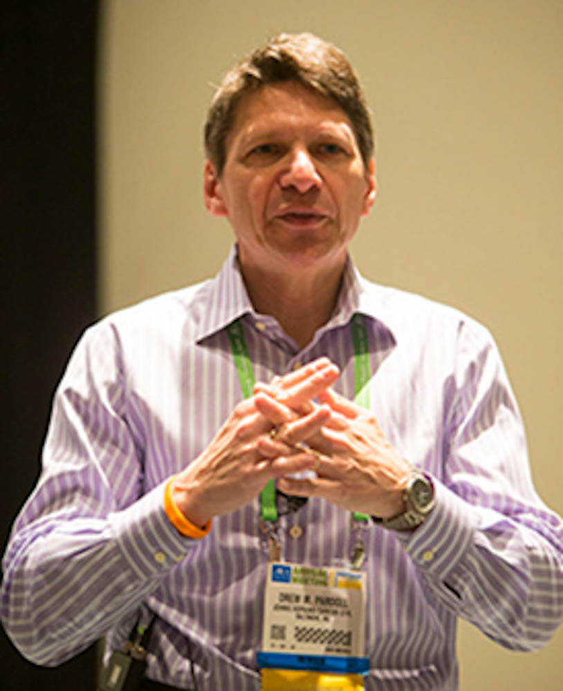 Drew Pardoll, MD, PhD, addresses participants in the Scientist↔Survivor Program at the AACR Annual Meeting 2014. Photo credit: Todd Buchanan