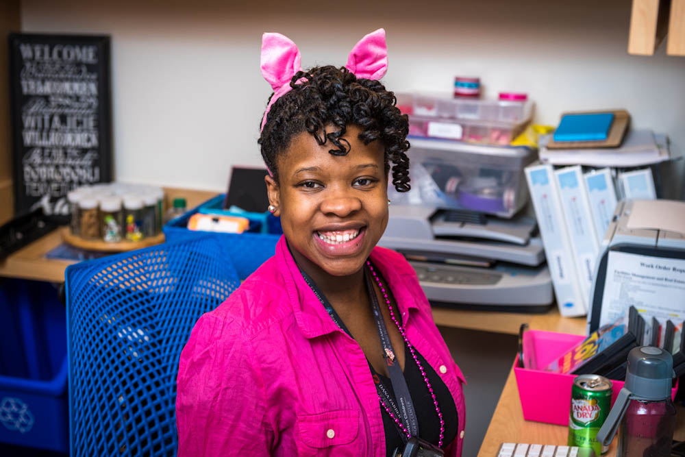 Jimmy Fund Clinic staff dress up with pig ears and pink for Pig Day.