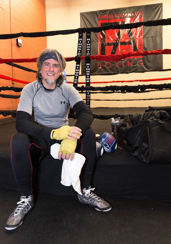 John at the boxing gym.