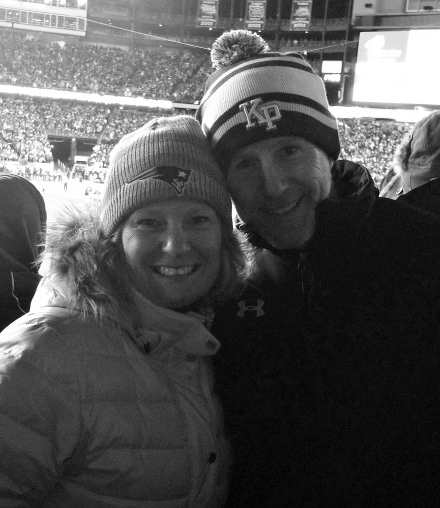 Deb and her husband, Greg, at a Patriots game in Nov. 2014.