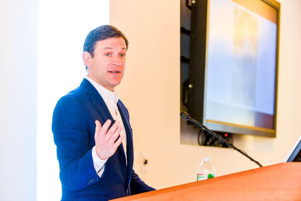 Dan Harris speaking at Dana-Farber about the importance of mindfulness.