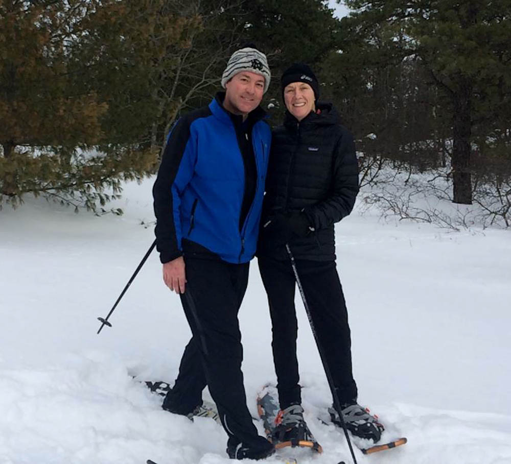 Duncan and her husband snowshoeing.