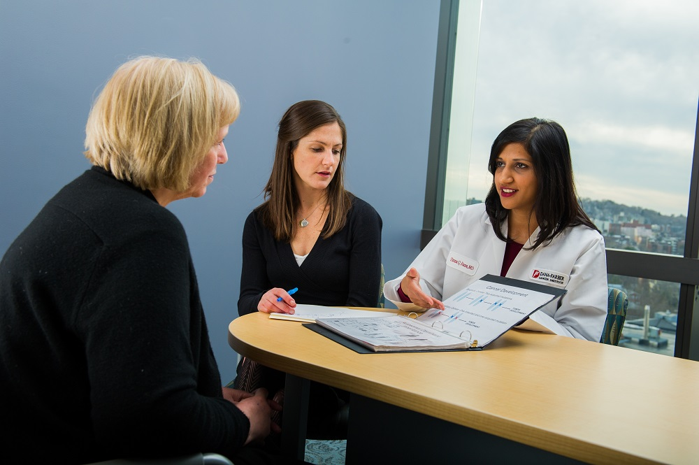 Genetic counselors meet with a patient at Dana-Farber