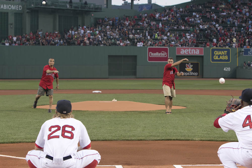 After meeting for the first time, and throw out the first pitch at Fenway Park on Aug. 18, 2015.