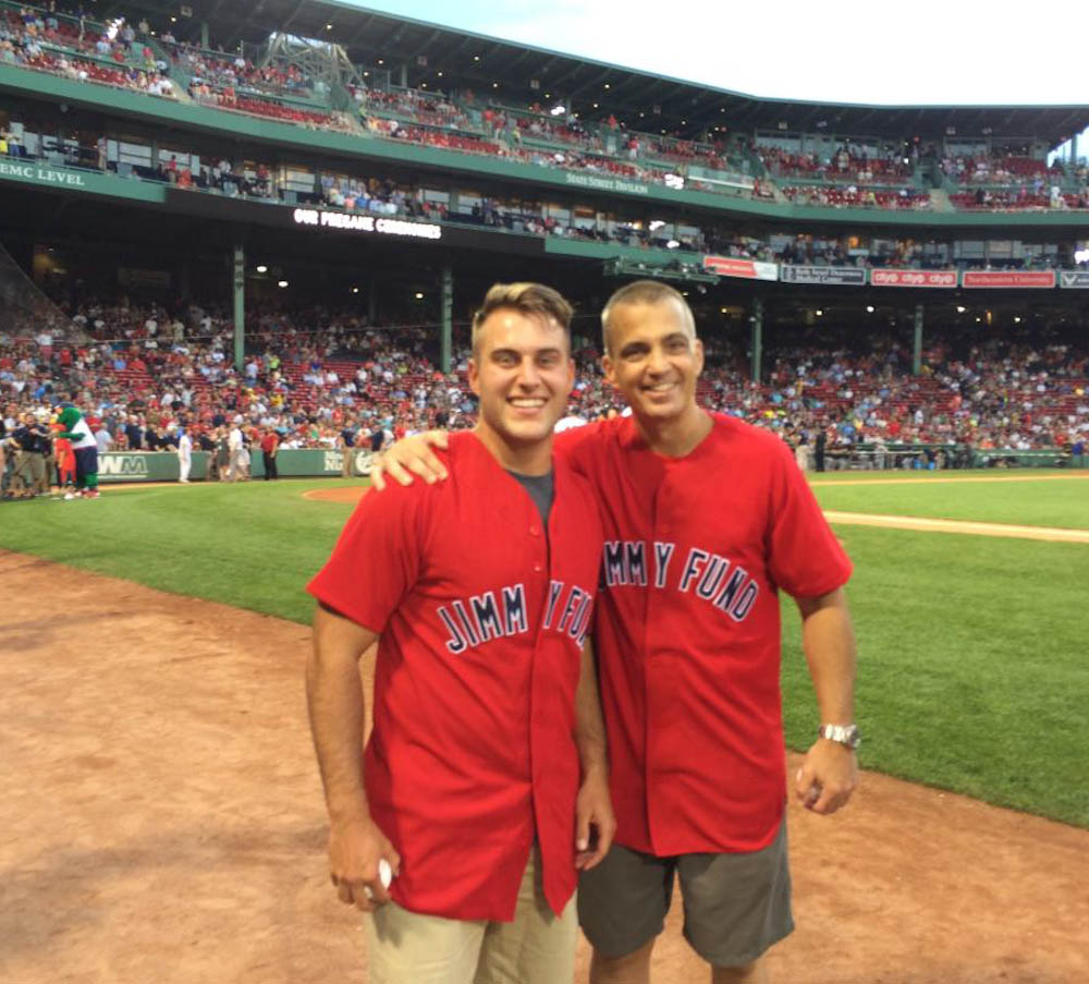 Alcantor and Lewis, meeting for the first time at Fenway Park.