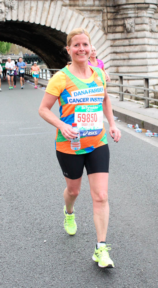 Sigrid Wheatley approaching the finish line at the Paris Marathon.
