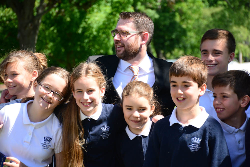 Andrew and some of his students at the English International School.