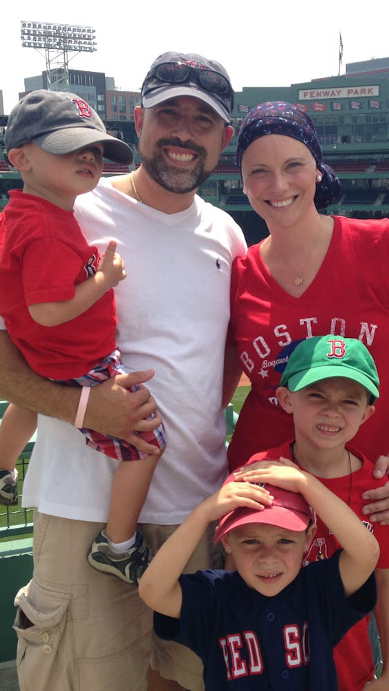 Melissa and her family at Fenway Park during the 2015 WEEI/NESN Jimmy Fund Radio-Telethon