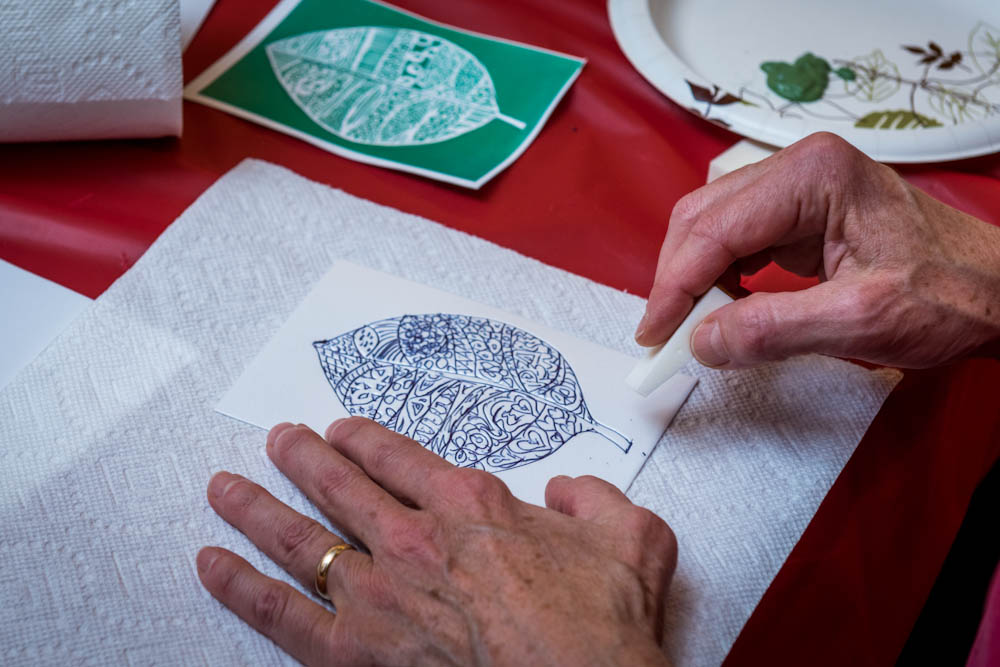 expressive arts, integrative therapies, block printing