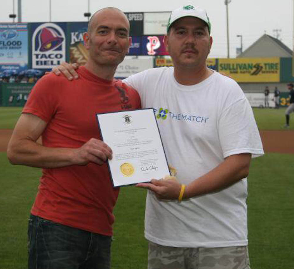 Todd meets his donor, Mark, at a Pawtucket Red Sox game.