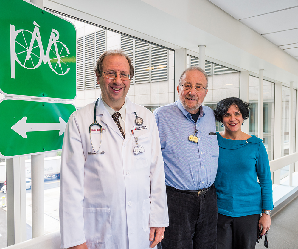 Harry on the PMC bridge with his oncologist, Richard M Stone, M.D. and his nurse Ilene A Galinsky, RN, BSN, NP.
