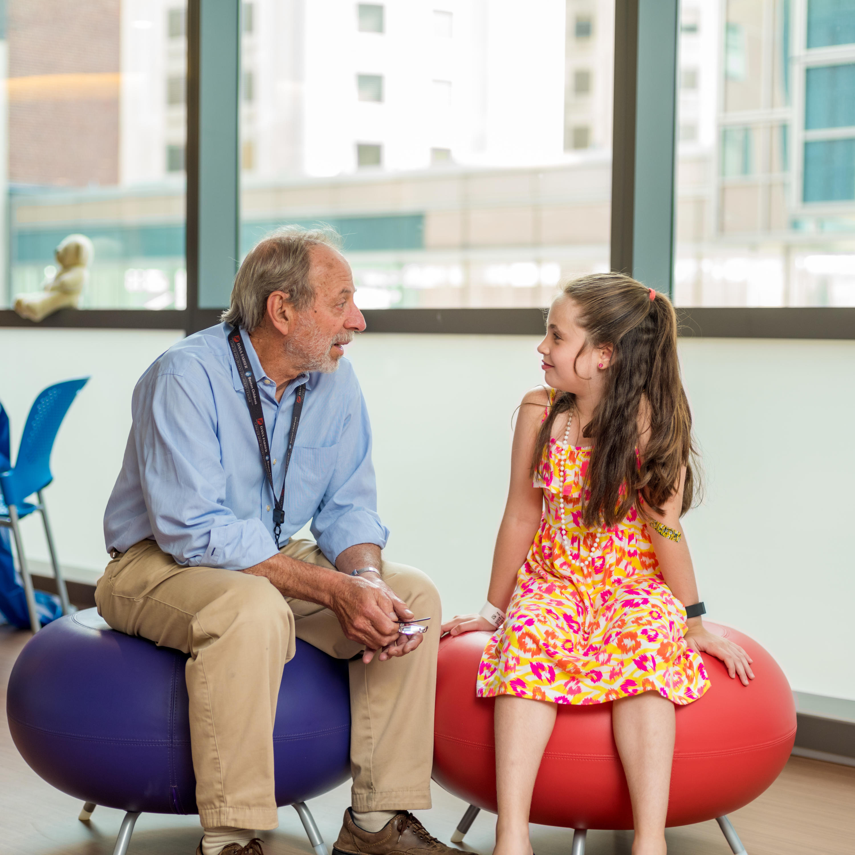 Photographed for Bone Marrow Failure BMF moved to JFC. Pediatric patient Charlotte Braga (consent # 7986) in the Jimmy Fund Clinic. With Colin Sieff, M.D. Severe Aplastic Anemia (SAA)