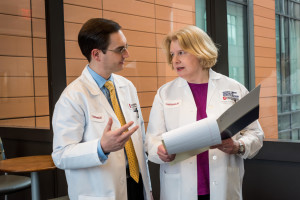 Ursula Matulonis, M.D. (right) studies drug combinations to treat ovarian cancer.