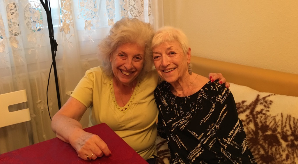 Yvette (right) celebrating her 78th birthday in Budapest with her sister Julie.