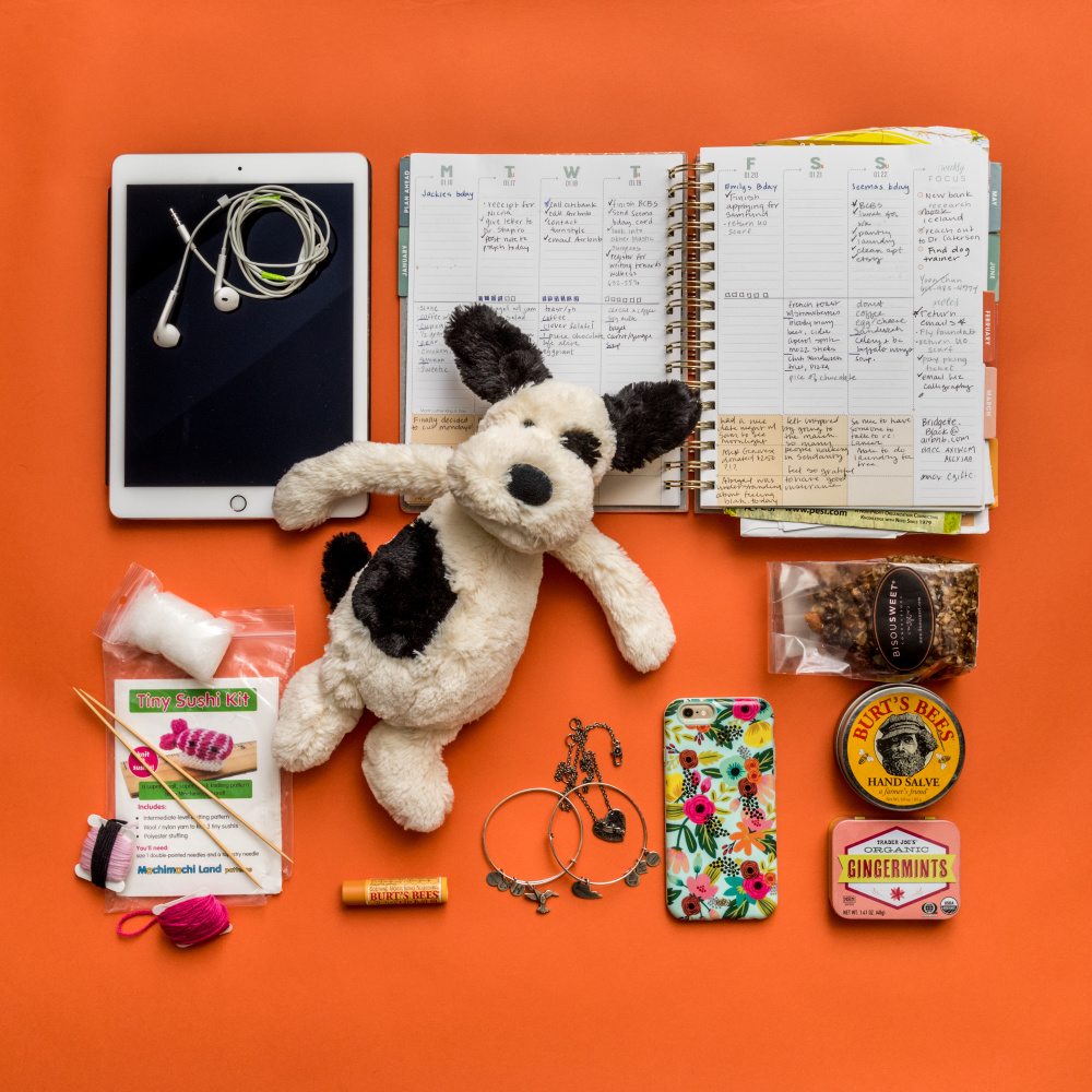 The contents of Joy Yang's bag that she brings with her to chemotherapy.