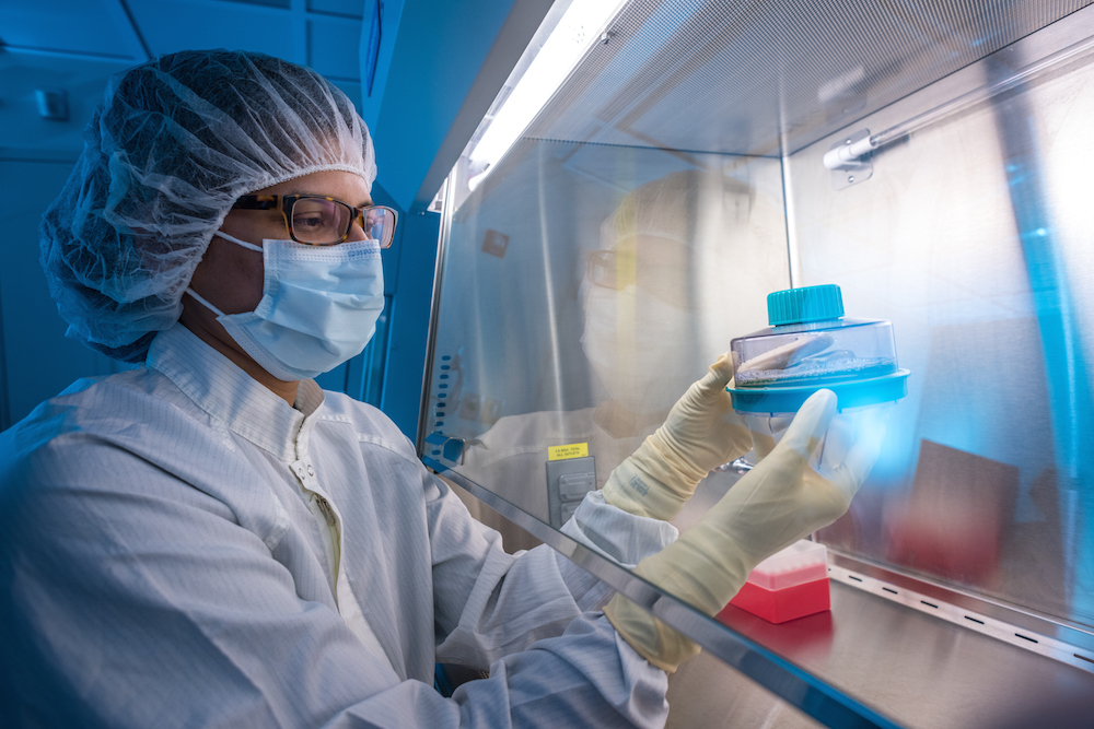 A technician helps prepare CAR T cells at Dana-Farber's Connell and O'Reilly Families Cell Manipulation Core Facility.