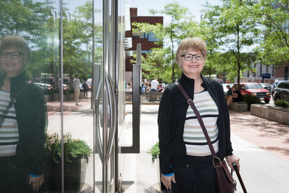Carol Roth, who lives in North Carolina, was referred to Dana-Farber for immunotherapy treatment with David Reardon, MD, in mid-2016 after chemotherapy and radiation failed to shrink two tumors in her brain that were also impacting her arm and foot mobility.