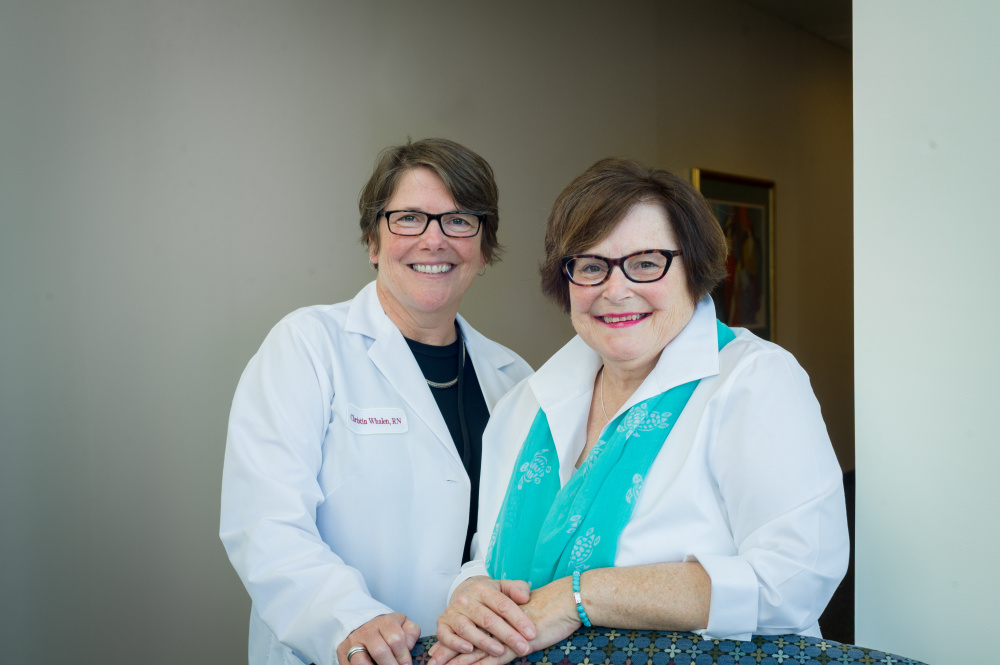 Advanced ovarian cancer patient Linda Dzobiak and Christin Whalen, RN, BSN, OCN.
