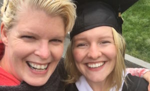 Former breast cancer patient Ernst and her daughter Marney at Marney's college graduation in 2016.