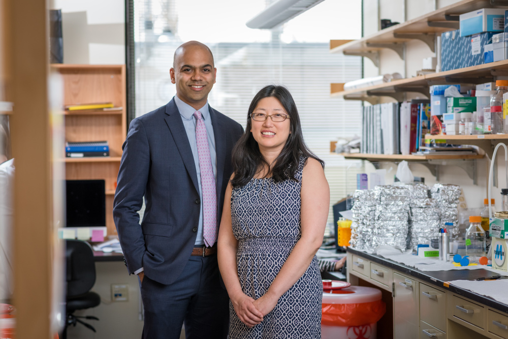 Nikhil Wagle, MD (left) and Nancy Lin, MD, collaborate on metastatic breast cancer research.