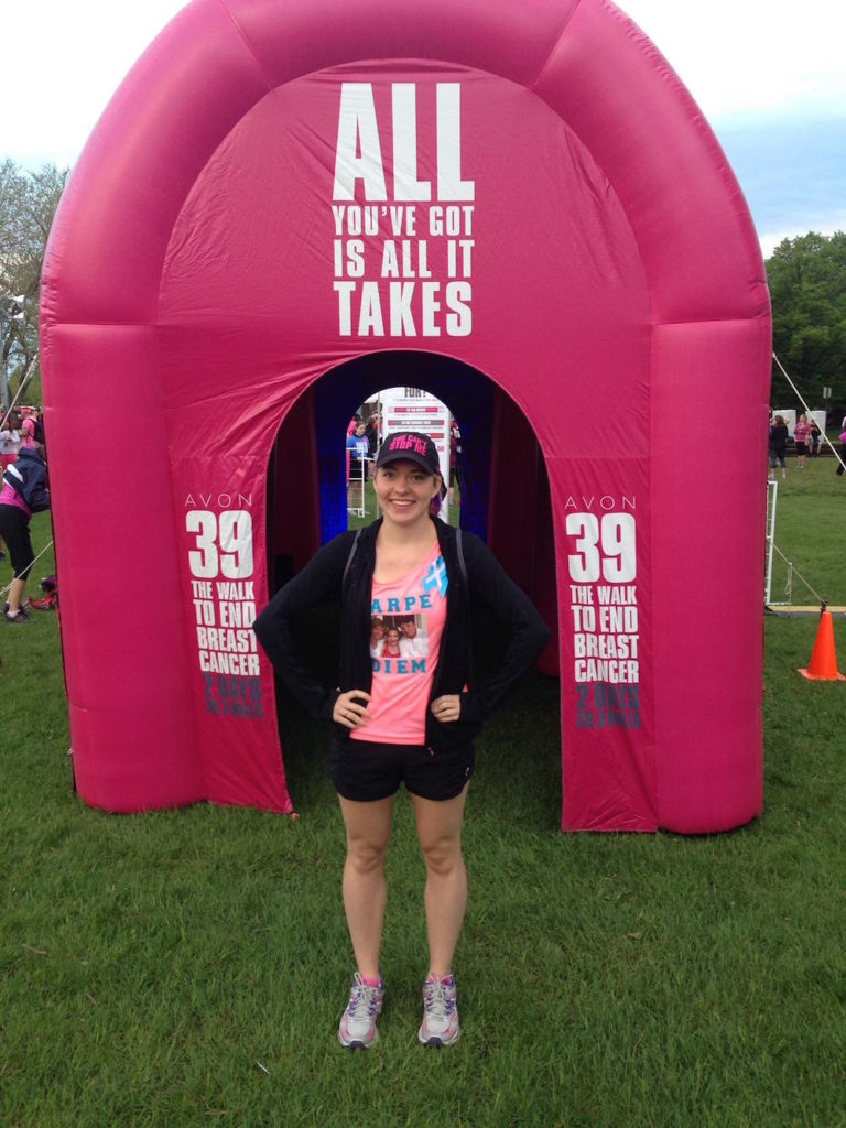 Brittany at Avon 39: The Walk to End Breast Cancer in 2015, four years after her father's passing.