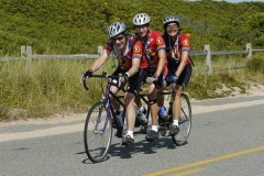 The Nelsons ride with their son in the Pan Mass Challenge.