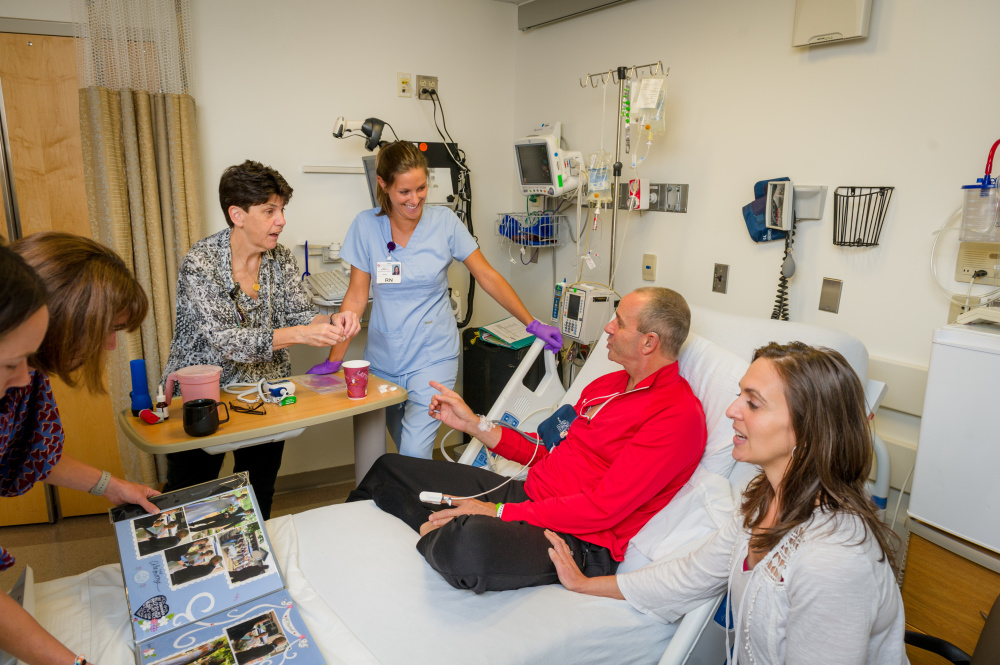 Patient Dave Matthews during an infusion of CAR T cells.